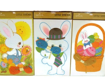 Easter Party Favors, Vintage Lacing Cards, NOS Hallmark Easter, 1980s Holiday Ephemera, Rabbit Sewing Cards