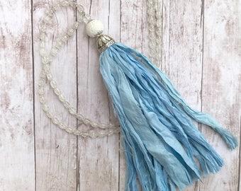 Long Sari Silk tassel necklace. Light blue. UNC Carolina Blue. Fabric Tassel Necklace. Boho glam. Tassel necklace. Sari necklace.