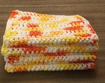 4 large dish cloths | dish rags | wash cloths made of 100% super soft Dishie cotton yarn- Sunburst