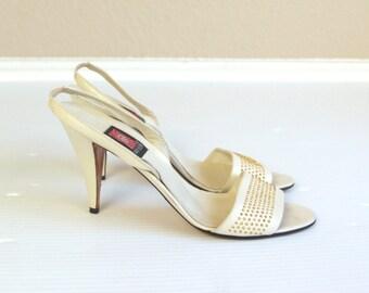vtg 80s CREAM leather peep toe Gold STUDDED STILETTOS heels 8 Italian pumps