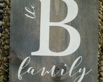 Rustic Faux Barnwood letter B family sign  Wall hanging READY TO SHIP  B family monogram sign