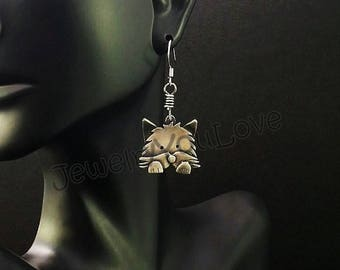 Sterling Silver Cairn Terrier Earrings - Lucy