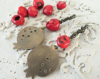 Dangling nickle silver pomegranate and coral earrings