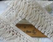 "Ecru Natural 1 7/8"" wide Cotton Fringe trim retro choose yards yardage sewing crafts costume home decor Off white fringe"