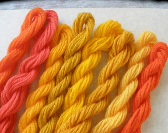 Needlepoint yarn 8 Shades gold orange yellow 3-Ply Persian Wool Tapestry Yarn 80 yards Variety vintage stock crewel embroidery supply