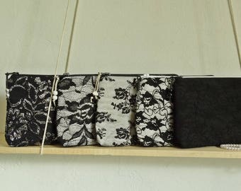 Black Lace Clutch Bag Goth Wedding Floral Purse Evening Handbag Gift for Her