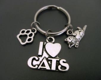 Cat Keychain /  Cat Lover Keychain / Cat Key Ring / Paw Keychain / Cat Adoption / I Love Cats / Cat Lady Keychain / Animal Lover Keychain