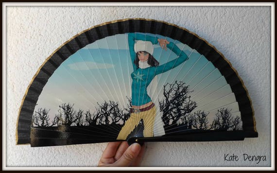 Black Hand Fan with Snowy Scene Lady Spanish Hand Fan Limited Edition