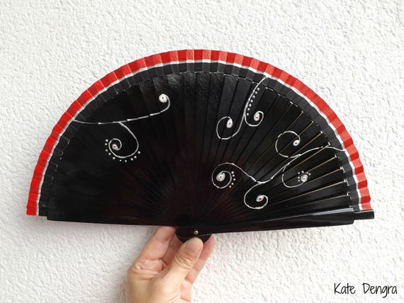 Black Silver Swirls 19cm Hand Fan READY to SHIP