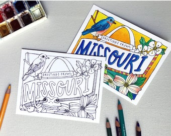 Coloring Postcard, MISSOURI handdrawn postcard