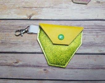 Fidget Spinner Case key chain green glitter and gold