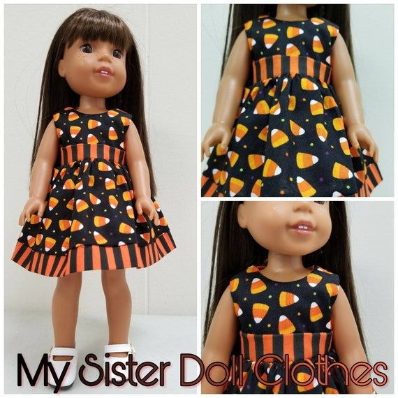 Halloween Candy Corn Dress for 14 Inch Dolls Wellie Wisher