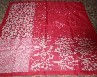 vintage ladies head neck scarf red pink white floral