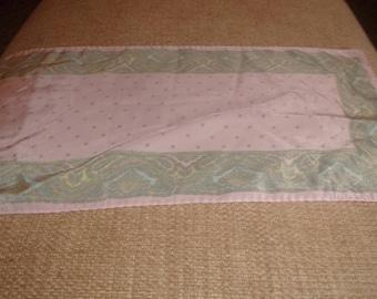 vintage ladies head neck scarf pink green pattern oblong