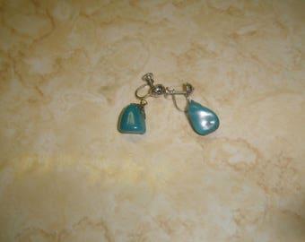 vintage screw back earrings silvertone genuine turquoise gemstone dangles