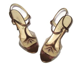 1960s Slingback Sandal, Bronze Metallic Shoe, Clear Shoes, 60s High Heels , Bronze Clear Slingback, Vegan Friendly, Faux Bronze Leather