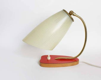 1950s table lamp/ mid century modern accent light/ night light/ Cream striped conical glass lamp shade / brass/ red kidney shaped base /mcm