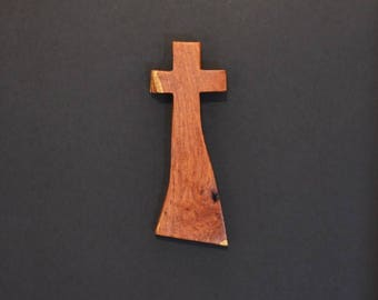 "Wooden Wall Cross; 4""x10""x1""; Rustic Cabin Decor;  Unique Design; Crooked Cross; Mesquite; Handmade;  Free Ground Shipping cc25-2121617"