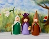 Root child, Snowdrop, Liverleaf springtime waldorf Nature Table