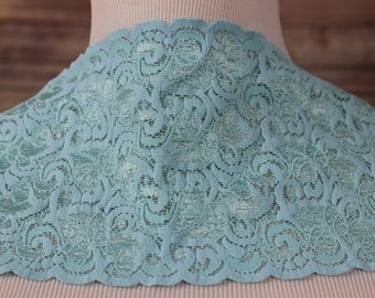 Light Aqua Floral Stretch Lace Trim - Bridal garter-headband-lingerie-Lace Boot Socks-Stretch lace is the perfect choice for lingerie-tanks