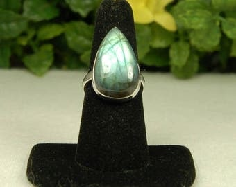 Labradorite Ring, Size 7.75, Golden Green, Luminous Glow, Pear Shape, Spectrolite, Sterling Silver, Green Labradorite, Natural Labradorite