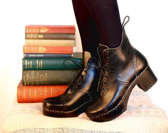 Hand Made Clog Boots, Black Leather Lace-Up Heels, Oxfords, EU 38