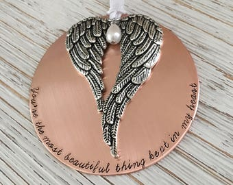 Hand Stamped Ornament, Memorial Ornament, Christmas Ornament, Angel Wing Ornament, Personalized Ornament, Holiday Ornament, Sympathy Gift