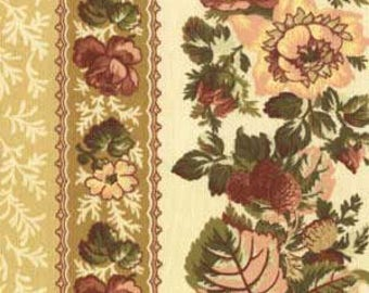 Floral Fabric, Rose Stripes in Cream, Rosetree Cottage by Studio E, E60-1078