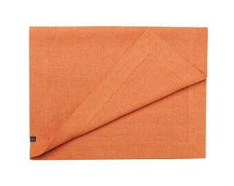 Linen Table Runner, Rust Table Runner, Dark Orange Table Runner