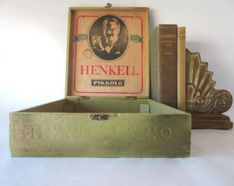 Antique Cigar Box Wooden Advertising Tobacciana Henkell Pikkolo Upcycled