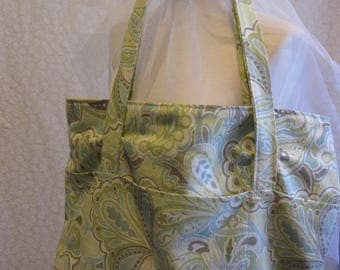 Light Green Paisley Lined Tote Bag with Three pockets in Front and Back