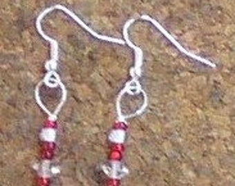 Red &  Shimmer Crystal Earrings
