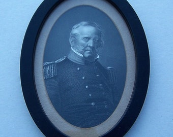 Military Officer Portrait , Mid 1800's Military Engraving of US Officer framed.