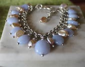 Sterling silver Blue chalcedony & keshi pearl gem charm bracelet- sterling chain, handmade clasp 7 1/4 inch long plus  1/2 inch extension