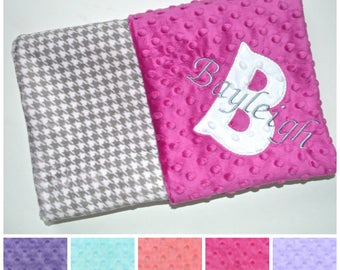 SALE Monogrammed Minky Baby Blanket - Gray Houndstooth, Personalized Blanket with name, Preppy Blanket, Newborn Gift, Raspberry, Aqua, Coral