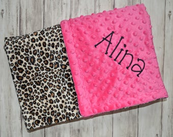 Personalized Baby Blanket - Minky Leopard Print and Hot Pink -  Monogram - Baby Gift Cheetah, Blanket with Name Newborn