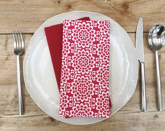 Dinner Napkins - Reddish and White with Floral - Set of 4 Reversible Cloth