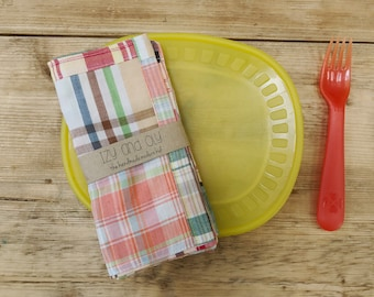 Small Sized Napkins - Plaid with Red