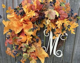 Halloween Wreath, Fall Door Wreath, Fall Wreath, Fall Monogram Wreath, Bright Wreath that will Show Up on Door, Pumpkin Wreath