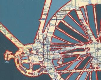 Fort Collins - large print -  20x20 & 24x24 - Ft Collins, Greeley, Longmont, Estes Park, Cheyenne - bicycle art, bike ar , map art