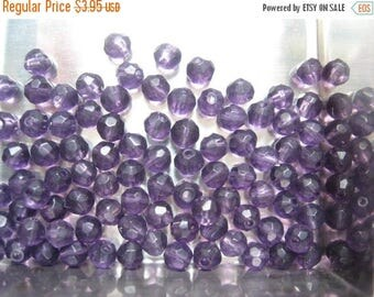CLEARANCE Vintage Amethyst Czech Crystals 4mm  qty - 24 LAST LOT