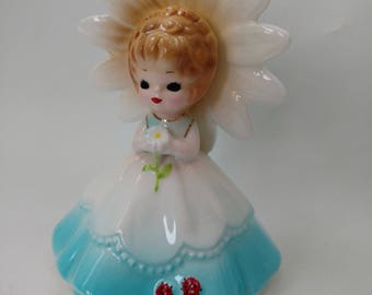 Reserved for Tracy / Vintage Flower Girl Figurine with Ladybug Ladybird