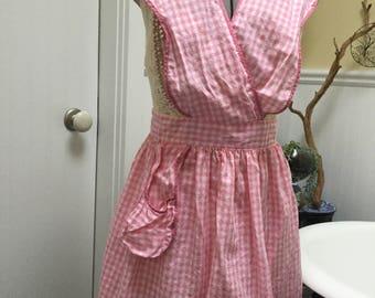Vintage Pink Check Sex Kitten Apron