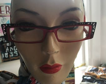 Vintage 1990's Red Black Tractor Frames with Lace Detail