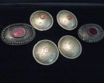 Sterling Silver Bolo Tie Clasp  with jewels + tin Concho Belt discs lot of 6 Vintage 1925 older maybe