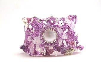 Lavender bracelet Gift for women, Beaded bracelet, Lilac cuff bracelet, Women's gift, Beaded jewelry  Freeform beadwork Summer gift