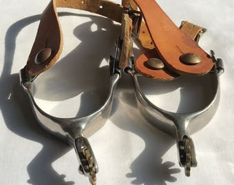 Pair Of Silver Western Spurs With Brass Rowels
