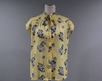 Vintage Blouse Womens Size Large L High Collar Button Front Sheer Yellow Top