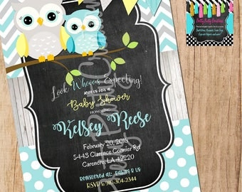 TEAL, GREY and YELLOW Owl invitation - You Print -  for birthday or baby shower