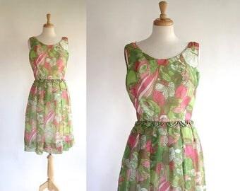 ON SALE 50s Chiffon Party Dress